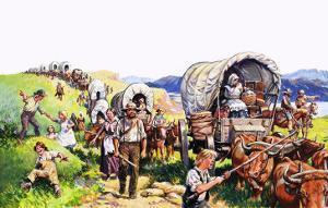 Unidentified Wagon Train Scene by Harry Green