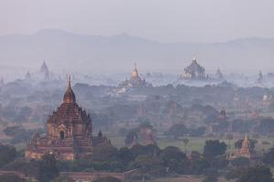 Aerial View of Ancient Temples (More Than 2200 Temples) of Bagan at Sunrise in Myanmar by Harry Marx