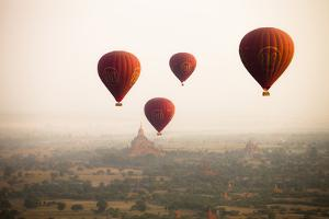 Balloons over Ancient Temples More Than 2200 Temples) of Bagan at Sunrise in Myanmar by Harry Marx