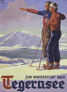 German Ski Poster by Harry Mayer