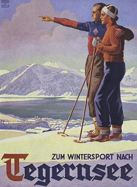 German Ski Poster by Harry Mayer