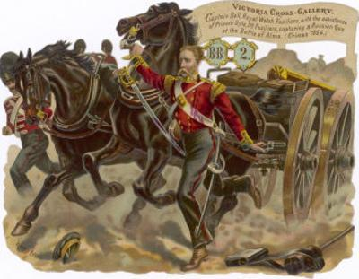 Captain Bell of the Royal Welsh Fusiliers Captures a Russian Gun at the Battle of Alma by Harry Payne