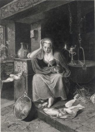 Cinderella Sits Forlornly Next to a Lamp and Cauldron by Harry Payne