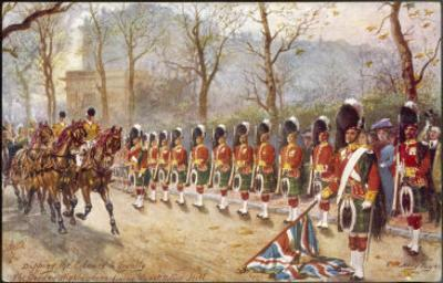 Detachment of Gordon Highlanders Dip the Colours to Passing Royalty Near Buckingham Palace by Harry Payne