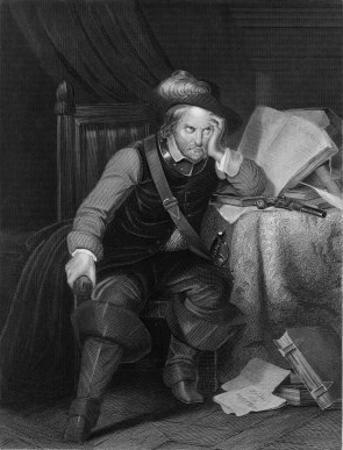 Oliver Cromwell English Soldier and Statesman Sits at a Desk Looking Very Disgruntled by Harry Payne