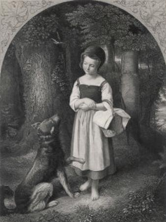 Red Riding Hood Encounters a Friendly Wolf in the Woods Who Offers Her His Paw by Harry Payne