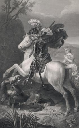Saint George Slays the Dragon While a Damsel Watches Safely out of Harms Way by Harry Payne