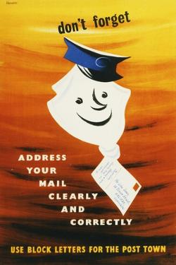 Don't Forget Address Your Mail Clearly and Correctly by Harry Stevens