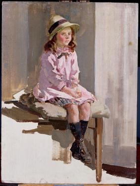 Portrait of a Young Girl in a Pink Dress and a Straw Hat by Harry Watson