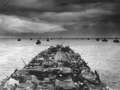 Troops Packed LCI Trailing in Wake of Coast Guard Manned LST for Invasion of Cape Sansapor