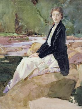 Young Woman Sitting upon Rocks by Harry Watson