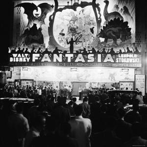 "Audiences Gathered Outside Theater For the Brazilian Premiere of Walt Disney's ""Fantasia"" by Hart Preston"