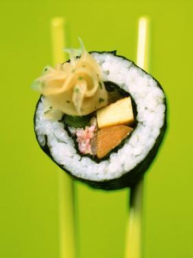 Maki-Sushi with Crabmeat, Scrambled Egg and Tuna by Hartmut Kiefer