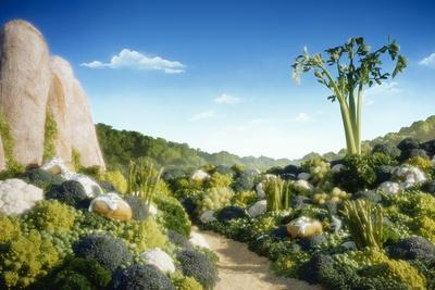 Landscape of Vegetables and Bread