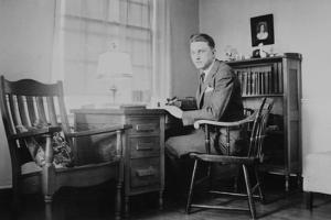 Harvard Grad Student Studies as His Desk, Ca. 1938
