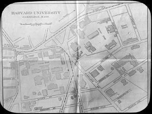 Harvard University Campus Map, Cambridge, Massachusetts, USA, Late 19th or Early 20th Century