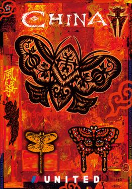 China - Kites in the Shape of Dragonflies and Butterflies - United Air Lines by Harvey Chan