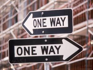 Urban Nightmare, 2 Oneway Signs by Harvey Schwartz