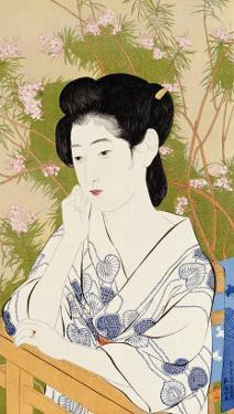 A Bust Portrait of a Young Woman Leaning on a Balcony Railing, Dated July 1920 by Hashiguchi Goyo