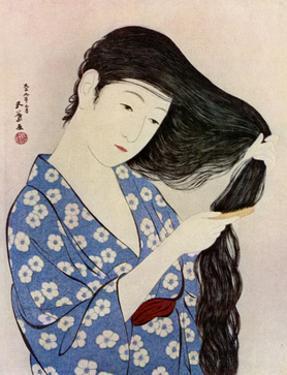 A Japanese woman combing her hair, 1920 (1930).Artist: Hashiguchi Goyo by Hashiguchi Goyo