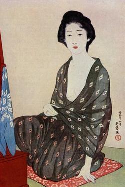 A Japanese woman wearing summer clothes, 1920 (1930).Artist: Hashiguchi Goyo by Hashiguchi Goyo