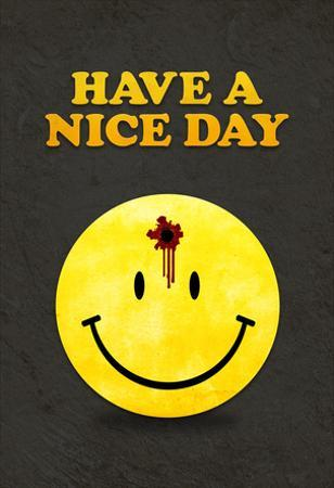 Have a Nice Day Smiley Face with Bullet Hole Black Art Print Poster