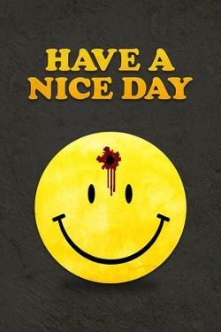 Have a Nice Day Smiley Face with Bullet Hole Black Plastic Sign