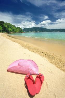 Beautiful Beach Landscape with Hat and Flip-Flops in Thailand by haveseen