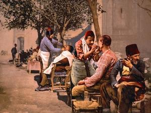 Having a 'Turkish Shave' in Constantinople, Pub. C.1895