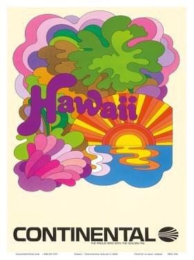 Hawaii - Continental Airlines - Psychedelic Art