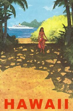 Hawaii, Cruise Liner, Girl on Beach Path