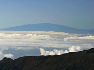 Hawaii, Haleakala National Park, Maui, View of Mauna Kea (13,796 Feet) on the Big Island of Hawaii
