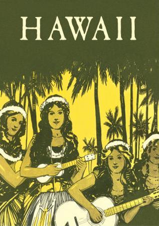 Hawaii, Hula Girls with Ukuleles