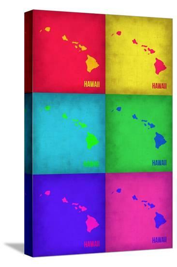 Hawaii Pop Art Map 1-NaxArt-Stretched Canvas Print