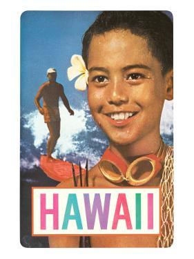 Hawaii, Surfer and Diving Boy
