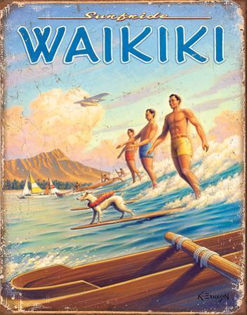Hawaii - Surfside Tin Sign