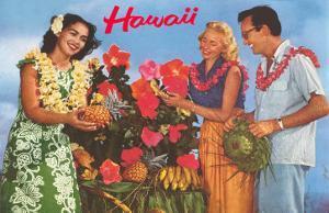 Hawaii, Tourist Couple, Fruit, Hawaiian Lady