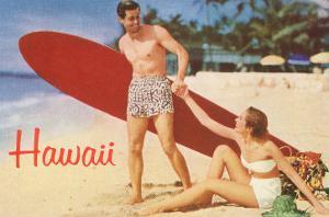 Hawaii, Tourists with Surfboard