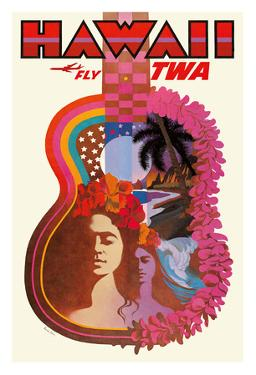 Hawaii - Trans World Airlines Fly TWA - ?Ukulele Psychedelic Flower Power Art