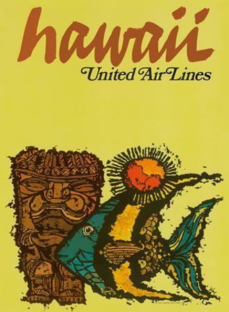 Hawaii - United Air Lines - Tiki and Moorish Idol (Kihi Kihi) Fish