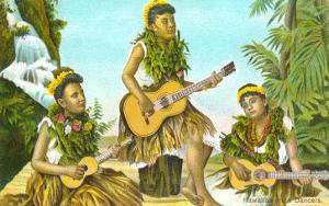 Hawaiian Hula Dancers with Guitar and Ukuleles