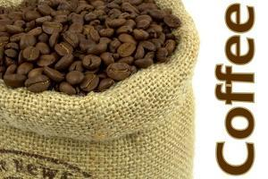 Roasted Coffee Beans In A Natural Bag And Sample Text by Hayati Kayhan