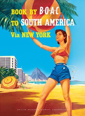 South America via New York - Rio de Janeiro, Brazil - British Overseas Airways Corporation by Hayes