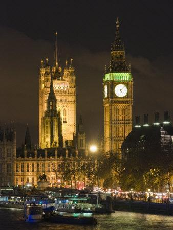 Big Ben and the Houses of Parliament by the River Thames at Dusk, Westminster, London