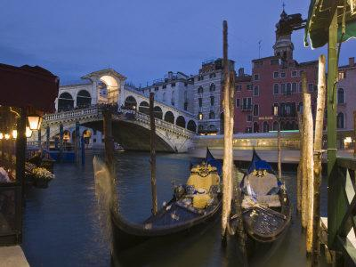Gondolas Moored on the Grand Canal at Riva Del Vin, with Rialto Bridge Behind, Venice, Veneto