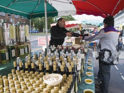 Olive Oil Stall at the Italian Market at Walton-On-Thames, Surrey