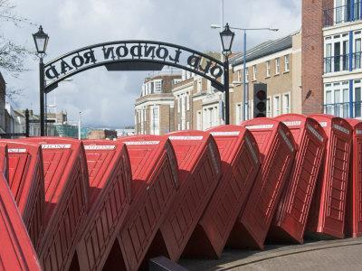 Red Telephone Box Sculpture Entitled Out of Order by David Mach, Kingston Upon Thames, Surrey