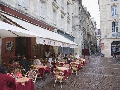 Terrace Seating at Restaurant in Place Saint-Pierre, Bordeaux, Gironde, France, Europe
