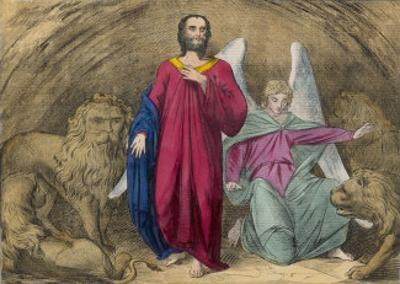 He is Cast into a Cellar Full of Lions But an Angel Persuades Them Not to Eat Him