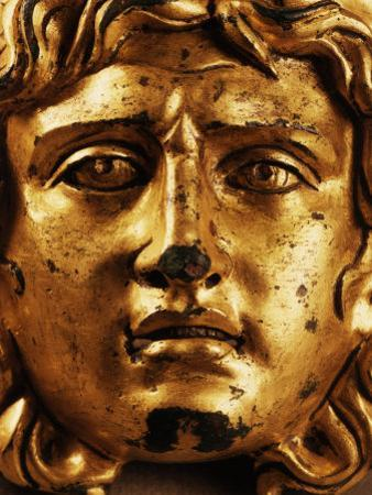 Head of Medusa, Gilded Bronze, 2nd - 3rd century, from Temple of Asclepius, Ulpia Traiana, Romania